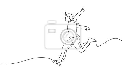 Naklejka Happy running man. Continuous one line drawing