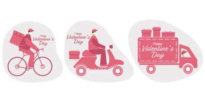 Happy Valentine's Day delivery. Flat vector illustration.