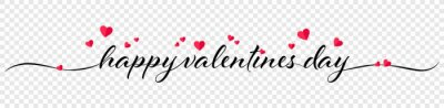 Naklejka Happy valentines day calligraphy banner with red hearts isolated on transparent background