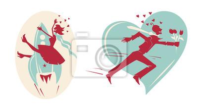Happy Valentines Day karty z mężczyzny, kobiety, rakiety i serca