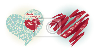 Happy Valentines Day karty z ornamentami i serca