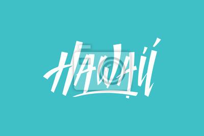 Hawaii USA Państwo Słowo Logo Hand Painted Szczotka Szablon Logo Kaligrafia Szablon