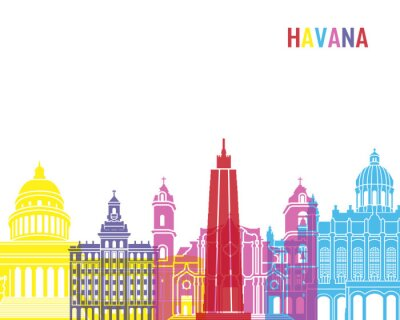 Naklejka Hawana skyline pop