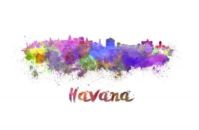Naklejka Hawana skyline w akwarela