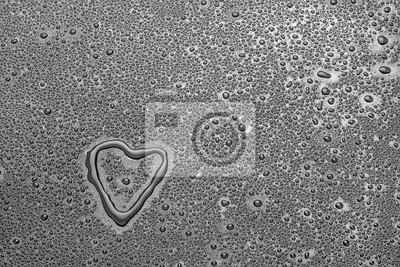 heart between water droplets