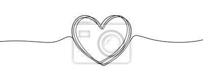 Naklejka Heart sketch doodle, vector hand drawn heart in tangled thin line thread divider isolated on white background. Wedding love, Valentine day, birthday or charity heart, scribble shape design