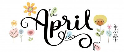 Naklejka Hello April. Hello APRIL with flowers and leaves. Illustration Spring