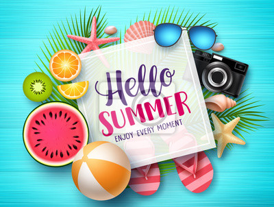 Naklejka Hello summer vector banner template. Hello summer text in white space boarder with colorful beach elements like tropical fruits a beach ball in blue wood textured background. Vector illustration.