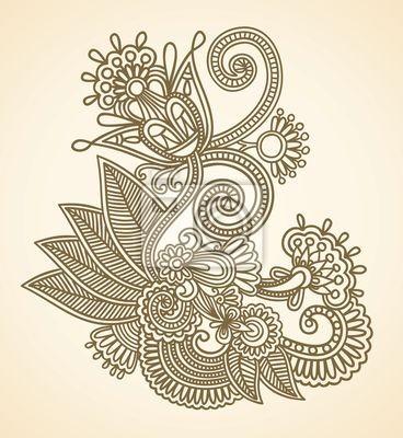 Henna mendie kwiaty elementem projektu