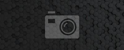 Naklejka Hexagonal dark grey, black background texture, 3d illustration, 3d rendering