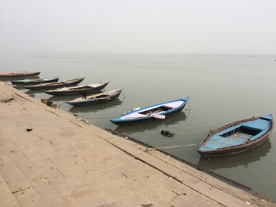 Naklejka High Angle View Of Boats Moored In Ganges River