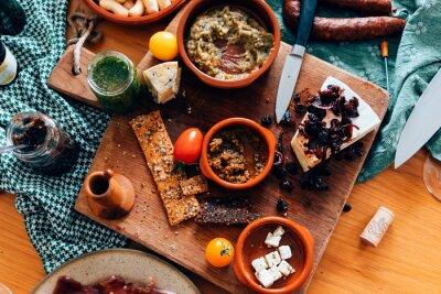Naklejka High Angle View Of Food On Table