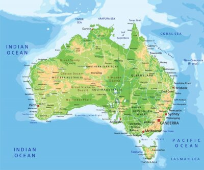 Naklejka High detailed Australia physical map with labeling.