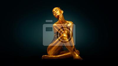 High Fashion model dziewczyna z jasnym złotym błyszczy na jej ciało pozowanie, portret pełnej długości pięknej seksownej kobiety ze świecącą skórą ciała. Makijaż artystyczny