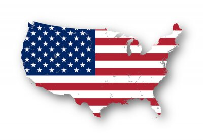 Naklejka High resolution map of the USA with american flag. You can easily remove the shadows, or to fill in the map in a different color - clipping path included.