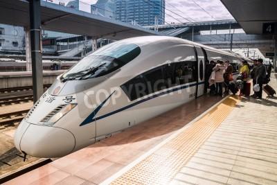 Naklejka High-speed trains in Guangzhou