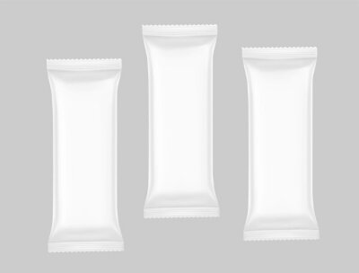 Naklejka Hight realistic flow packaging mockups. Vector illustration. Can be use for your design, promo, adv and etc. Possibility for food, pharmaceutical, cosmetic. EPS10.