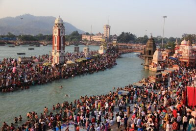 Naklejka Hindu Holi city of Haridwar near Ganges, Uttranchal, India