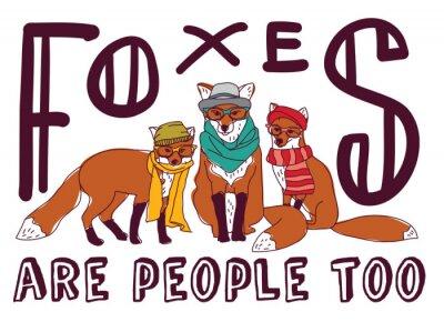 Naklejka Hipster Fox zabawy Znak karty plakat zwierząt.
