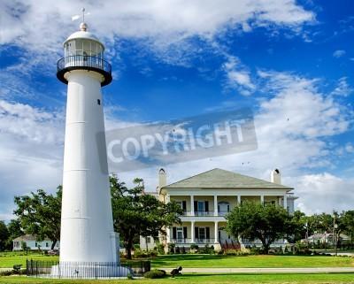Naklejka Historic lighthouse landmark and welcome center in Biloxi, Mississippi