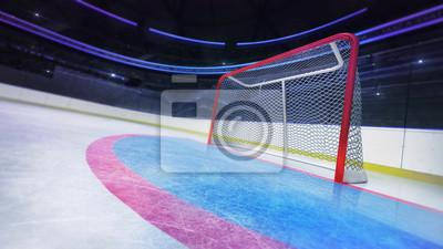 Hockey goal area dynamic closeup in modern sport arena