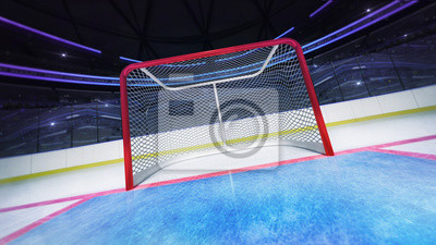 Hockey goal area dynamic closeup view in modern sport arena