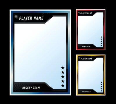 Naklejka Hockey player card frame template design