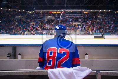 Naklejka hockey player sitting on the bench, stadium and crowd in background
