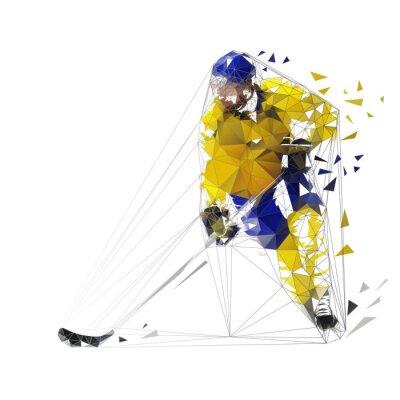 Hokeista, ilustracji wektorowych wielokątne. Łyżwiarz hokejowy Low poly z krążkiem