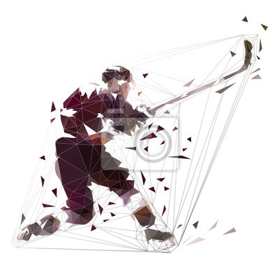 Hokeista strzelanie krążek, niskiej polygona isolatedl ilustracji wektorowych. Jeden strzał z uderzeniem zegara. Aktywni ludzie, zimowy sport zespołowy