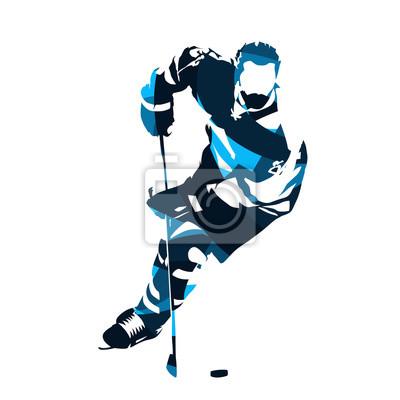 Hokej na lodzie skating z krążek, streszczenie sylwetka wektor niebieski