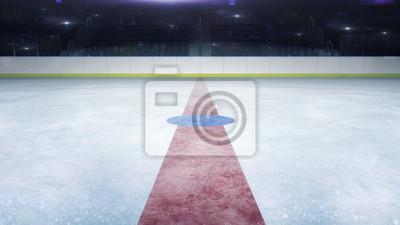 hokej na lodzie stadion środkowej linii ogólny widok i kamera miga za, hokej na lodzie i łyżwiarstwo stadion kryty 3D render ilustracji tła
