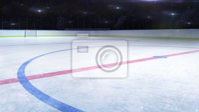 hokej na lodzie stadion środkowy lodowisko widok ogólny i kamera miga za, hokej i łyżwiarstwo stadion kryty 3D renderowania ilustracji tła