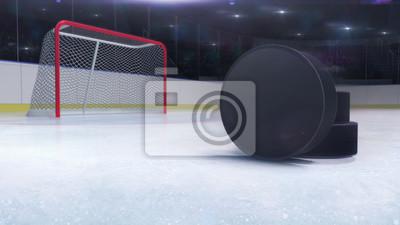 hokejowy stadium i bramkowa brama z krążkiem hokojowym przód i kamera błysku za, hokeja i łyżwiarstwa stadium salowy 3D odpłaca się ilustracyjnego tło