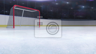 hokejowy stadium z bramkową czerwoną bramą i puste miejsce kopii przodem, hokeja i łyżwiarstwa stadium salowy 3D odpłaca się ilustracyjnego tło