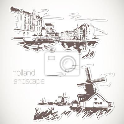 Holland wyciągnąć rękę krajobraz w stylu vintage