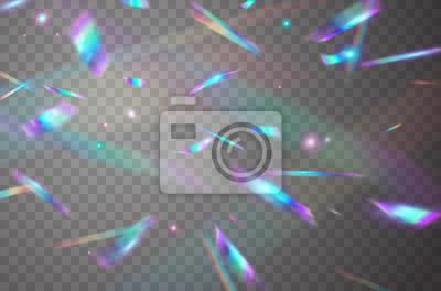 Holograficzne spadające konfetti na przezroczystym tle. Opalizująca tęcza tekstury nakładki. Wektor świąteczna świecidełka z hologramem z efektem świetlnym bokeh i blaskiem blasku.