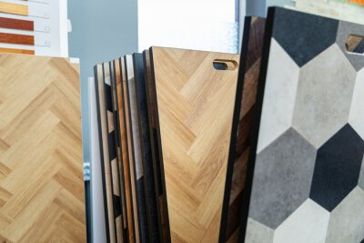 home improvement - laminate flooring samples in a store