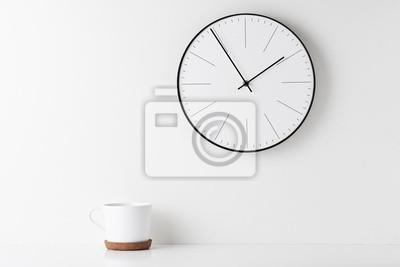 Naklejka Home office minimal workspace desk with wall clock