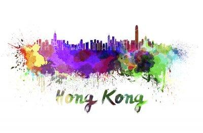 Naklejka Hong Kong Skyline w akwareli