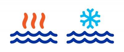 Naklejka Hot and cold water vector illustration.