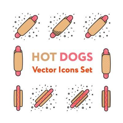 Hot Dog Snack Kiełbasa z Keczupem i musztardą Fast Food Minimal Color Vector Kolekcja Icon Set Line