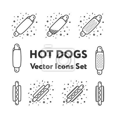 Hot Dog Snack Kiełbasa z Keczupem i musztardą Fast Food Minimalne Kolekcja Icon Set Vector