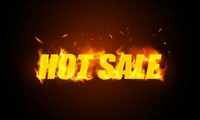 Naklejka Hot Sale banner. Burning red hot sparks realistic fire flames