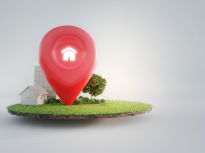 Naklejka House symbol with location pin icon on earth and green grass in real estate sale or property investment concept. Buying land for new home. 3d illustration of big advertising sign.
