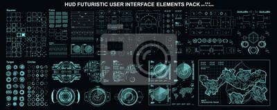Naklejka HUD elements mega set pack. Dashboard display virtual reality technology screen. Futuristic user interface.
