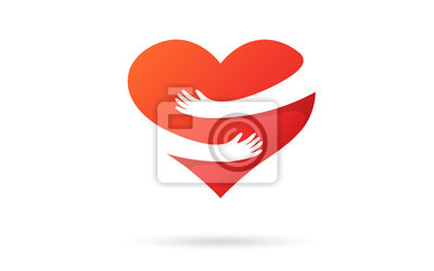 Naklejka Hugging heart isolated on a white background. Heart with hands. Red color. Love symbol. Hug yourself. Love yourself. Valentine's day. Icon or logo. Cute modern design. Flat style vector illustration.