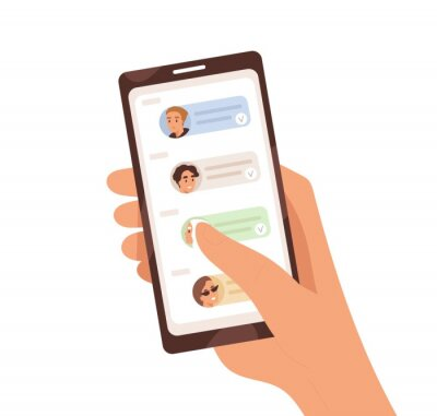 Naklejka Human hand holding smartphone with dialogue app on screen vector flat illustration. Person chatting, sharing news and refer friends online isolated on white. Forward messages or information