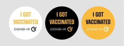 I got vaccinated Stamps. Covid-19 vaccine. Flat vector logo.
