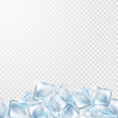 Ice cubes isolated on transparent background. Realistic freeze water blocks with empty space. Vector 3d blue icy template..